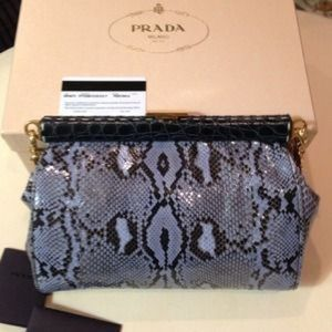 Prada Python Frame-Chain Shoulder Blue Gold Bag
